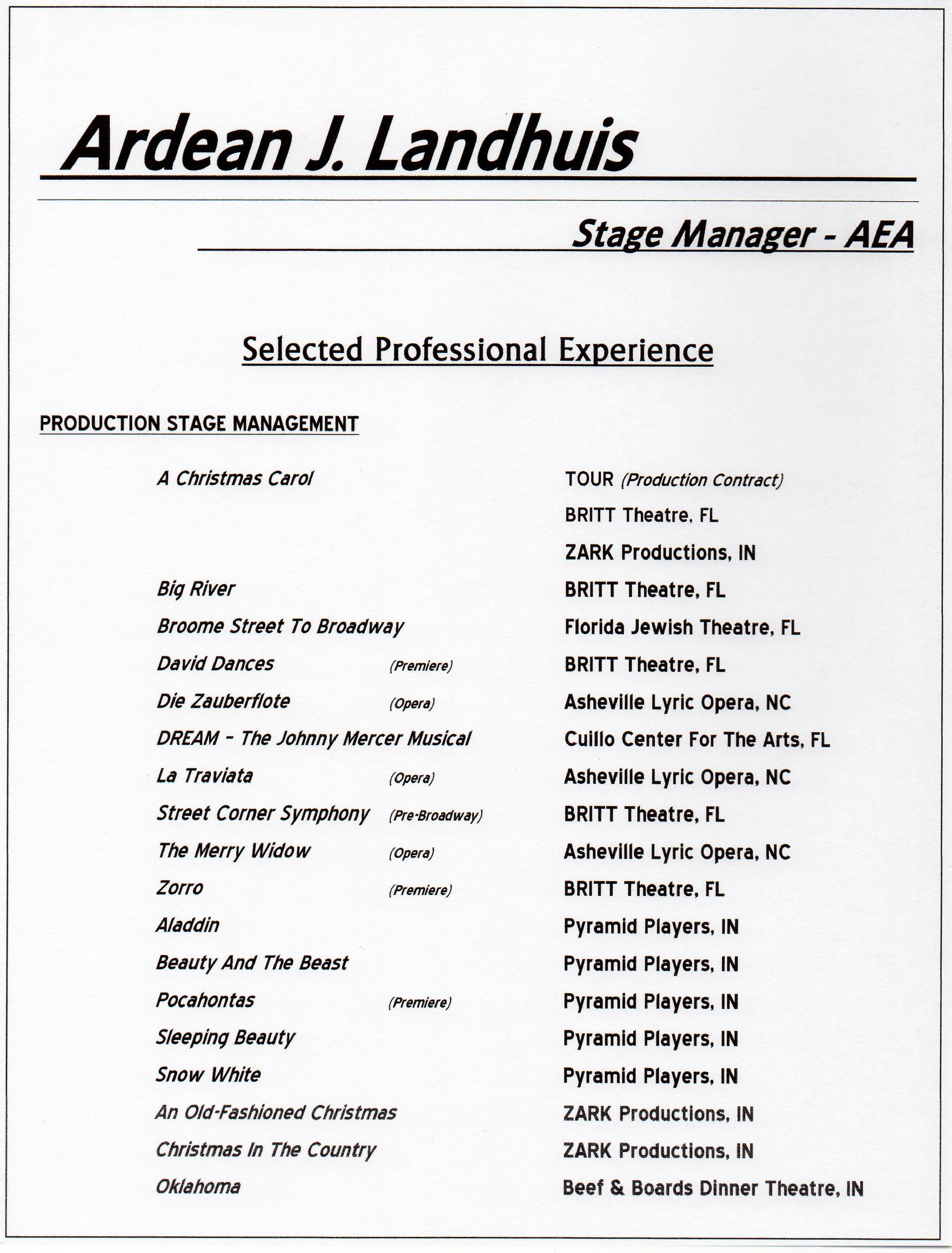 Stage Management Resume` » Ardean J. Landhuis - Performing Arts